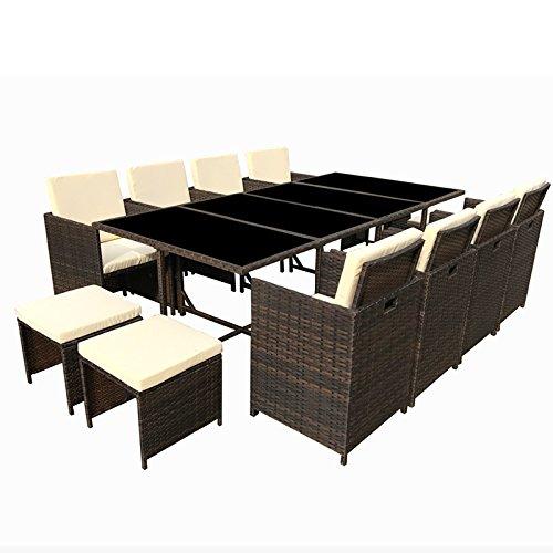 POLY RATTAN Essgruppe Rattan Set mit Glastisch Garnitur Gartenmöbel Sitzgruppe Lounge (8 Stühle, Braun)