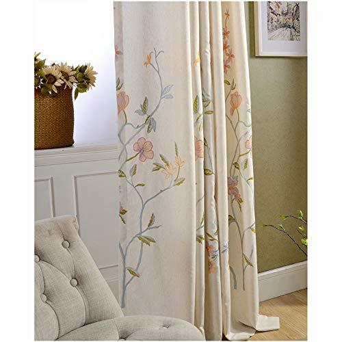 Floreale ricamata tessuto tenda, moderna voile stile country le tende cotone lino pura tende alle finestre per camera da letto-blu a 79x118inch(200x300cm)