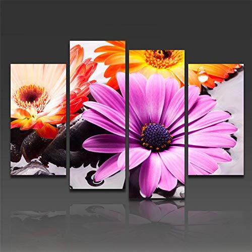 Ren&nnnn Peinture Décorative sans Cadre Moderne Pourpre Et Orange De Fleur 4 De HD De Combinaison Latérale, 30X60X2 30X80X2
