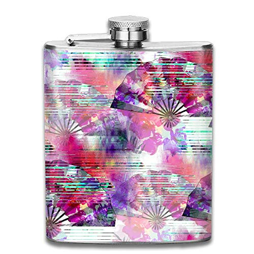 Seamless Pattern with Glitch Design Cyber Floral Background with Folding Fans Digital Print Gift for Men 304 Stainless Steel Flask 7oz -