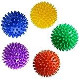 SelfTek 7.5cm Spiky Massage Ball for Reflexology Muscle Back Plantar Fasciitis Tissue Trigger Point Therapy Random Color