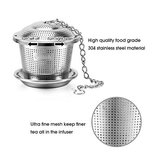 Tee-ei Sieb Edelstahl Sieb für losen Blatt-Tee Ollimy Teefilter Kaffee und Auffangwannen (2 Stück) geeignet für jeden losen Tee und alle Tee-Blätter - 2