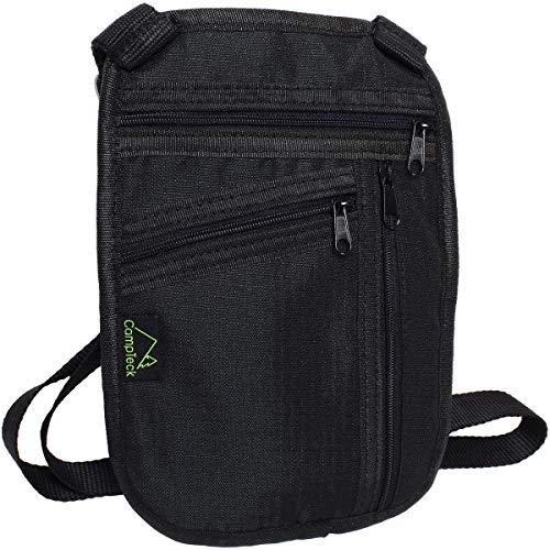 CampTeck U6864 Brustbeutel Brusttasche (20 x 15 cm) - Halstasche RFID Ordner Hülle für Reisepass Kredit Debit-Karten, Ausweise, Geld, Tickets, Smartphones - Schwarz -