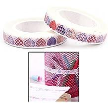 Welecom 2pcs corazón decorativo cinta adhesiva de papel adhesivo de carrocero Scrapbooking DIY