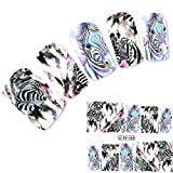 JUSTFOX - Tattoo Nail Art Zebra Afrika Wildnis Aufkleber Nagel Sticker