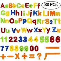 Tacobear Letras magnéticas y números para educar a los niños pequeños educativos Juguetes para Preescolar Alfabeto de Aprendizaje imanes refrigerador 80 Piezas
