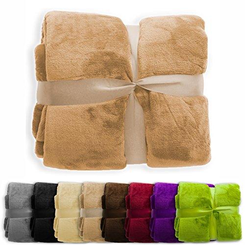 XXL Decke Glory | uni sand | super weiche Wohndecke / Kuscheldecke | 2 Größen und 8 Farben verfügbar | 150x200cm