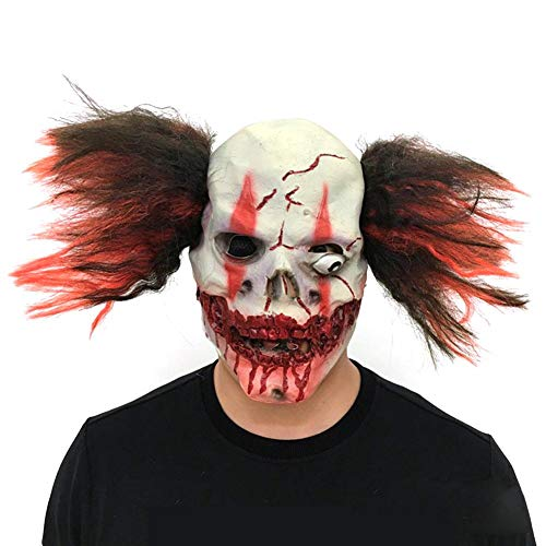 (Gruselige Clown-Gesichtsmaske aus Latex für Halloween, Weihnachten, Party, Maskerade)