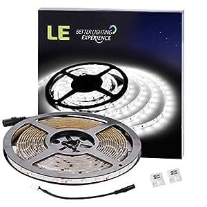 LE Lampux Strisce Flessibili LED, 12V,Luce Diurna Bianca, Impermeabili, 300 Unità 3528 SMD LED, Illuminazione Fai-da-te perfetta, Confezione da 5 Metri