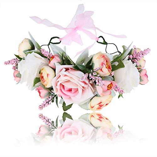 Damen Mädchen Blumen Stirnband Blumenkranz - Blühen Blumenkrone Girlande Kopfschmuck Festival Hochzeit Party Einstellbar mit Band (Rosa) - Blumen Für Stirnbänder