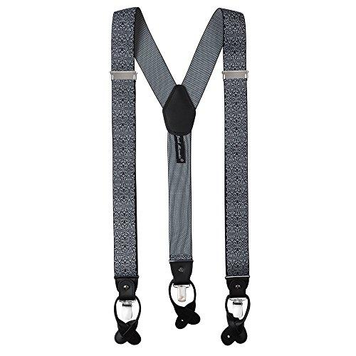 Jacob Alexander Men's Floral Y-Back Suspenders Braces Convertible Leather Ends Clips - Black White (Floral Woven Ribbon)