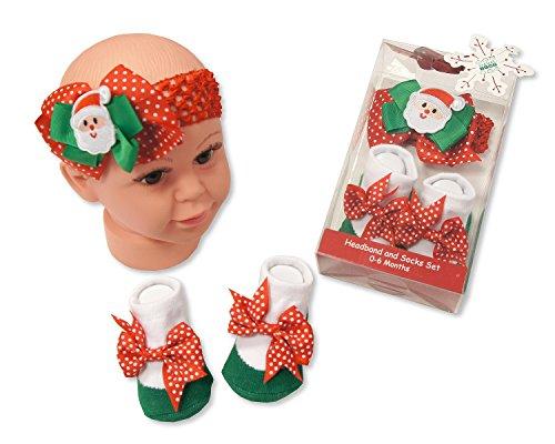 Bébé Fille de Père Noël Bandeau et chaussettes Ensemble cadeau Rouge/vert