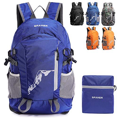 Spaher ultraleggero zaino escursionismo pieghevole trekking borsone impermeabile daypack borsa a tracolla per uomo donna sportivo scuola outdoor campeggio alpinismo viaggi 25l-riflesso nella notte