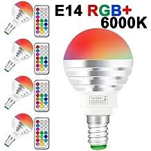 (4 Pack)LED RGBW Lampen, Sunpion® 3W E14 Glühlampen Dimmbar Glühbirne, inklusive Fernbedienung, Farbwechsel Lampen, LED Birnen, LED Leuchtmittel (RGBW 3W E14 4Pcs)