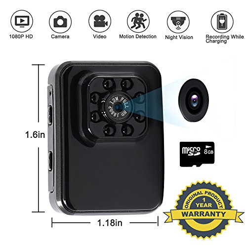 Hidden Spy Camera 8GB TANGMI 1080P HD Sports Cam Motion Detection Portable Security Camcorder Mini Video Recorder Recording and Charging Simultaneously