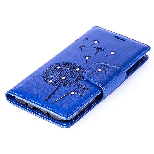Galaxy J3 (2016) Hülle,Galaxy J3 (2016) Ledertasche Brieftasche im BookStyle,SainCat PU Leder Wallet Case Folio Schutzhülle [Shell Owl Muster] Hülle Lederhülle Bumper Handytasche Skin Schale Soft Back Löwenzahns Diamant-Marineblau