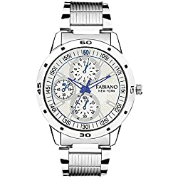 Fabiano New York Silver And White Analog Mens & Boys Wrist Watch