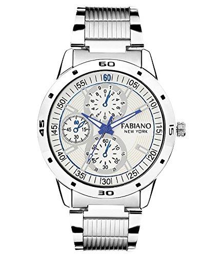Fabiano New York Silver And White Analog Mens & Boys Wrist Watch