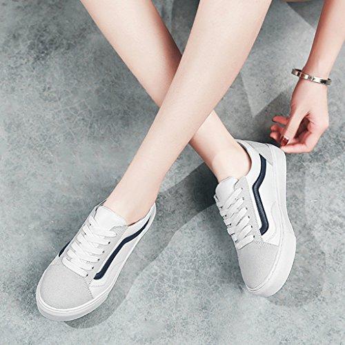 HWF Scarpe donna Scarpe bianche Scarpe piatte a molla piatte Scarpe casual Scarpe sportive da donna ( Colore : White green , dimensioni : 35 ) White Dark Blue