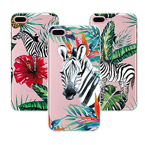 [3 Packs] iPhone 6 Plus Hülle, iPhone 6S Plus Hülle, Bunt Niedlich Muster Soft Flex Silikon Transparent Bumper Handyhülle für iPhone 6 Plus/iPhone 6S Plus Case Cover 5.5 Zoll - Tropisches Zebra Cover Zebra-snap