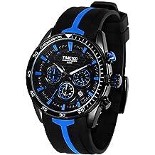 TIME100 W70103G.02A moderna silicona multifunción para hombre reloj de cuarzo correa de piel