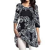 VEMOW Sommer Elegante Damen Mädchen Frauen DREI Viertel Ärmelloses Rundhalsausschnitt Gedruckt Casual Tägliche Outdoors Tops Lose T-Shirt Bluse(X1-Schwarz, EU-52/CN-4XL)