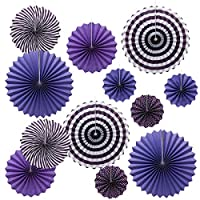 ONUPGO Purple Paper Fans Hanging Paper Fans Flower Set, 12PCS Mexican Fiesta Kids Party Decorations Hanging Banner for Wedding Birthday Engagement Bridal Shower Baby Shower Event Holiday Celebration
