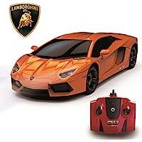 Lamborghini Aventador, Remote/Radio Controlled Model Car. 1:24 Scale. In Matt Black/White and Orange