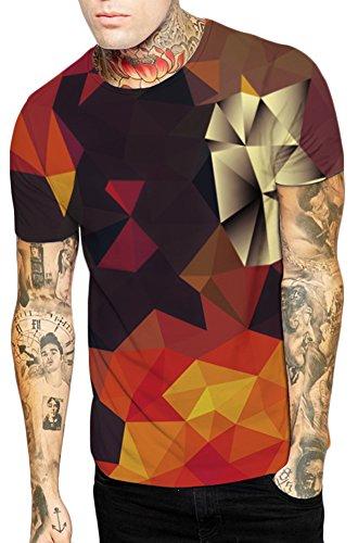 EmilyLe Herren 3D Cartoon Druck Bunt Galaxy Tier T-Shirt Sport Rundhals Spaß Motiv Tops Casual Hemd bunt Dreieck