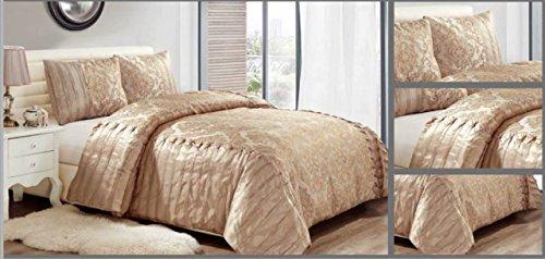 New Luxury 3Jacquard Tagesdecke/Tröster mit 2kissenrollen Double & King Size–rynz Collection (TM), beige, Doppelbett