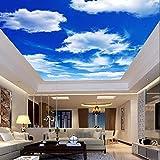 Yosot Blauer Himmel Wolken Decke Tapeten Wandbilder 3D Photo Wall Papierrollen Wall Art Dekor Hintergrundbilder Für Decken Wohnzimmer Einrichtung-250Cmx175 Cm