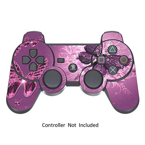 Skins für PS3 PlayStation 3 Controller Decals Sony Dualshock 3 Konsolen Remote Wireless Controllers Skin Aufkleber - Lavender Butterfies [Controller Nicht Enthalten] (Gold, Playstation 3 Controller)
