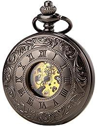 SEWOR Vintage hueco romano Negro Hombres Mujeres Reloj De Bolsillo De Aleación De flor doble abierto