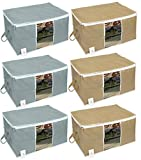 #9: HomeStrap Underbed 6 Piece Fabric, Storage Organizer, Large, Grey and Beige