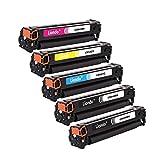Liondo 5 Tonerset Kompatibel zu HP CB540A-CB543A 125A Color LaserJet CP-1215