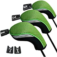 Andux funda de palo de golf para drivers maderas con intercambiable No. etiqueta set de 3 MT/mg05 Negro/verde