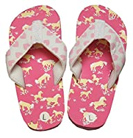 Hatley Girls�?? Lbh Kids Flip Flops-Horse Play Beach and Pool Shoes, Pink (Pink), S Child UK