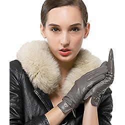 Las mujeres de piel de cordero de cuero italianoNappaglo Guantes invierno caliente simple largo forro polar guantes touchscreen (m (Palm:17.8-19.0cm), gris (no táctil))