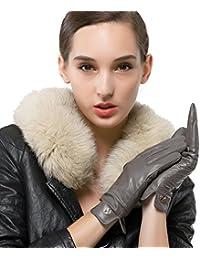 Nappaglo Damen Italienisches Lammfell Leder Handschuhe Touchscreen Winter Warm Langes Fleecefutter Handschuhe