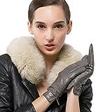Nappaglo Damen Italienisches Lammfell Leder Handschuhe Touchscreen Winter Warm Langes Fleecefutter Handschuhe (M (Umfang der Handfläche:17.8-19.0cm), Grau(Non-Touchscreen))