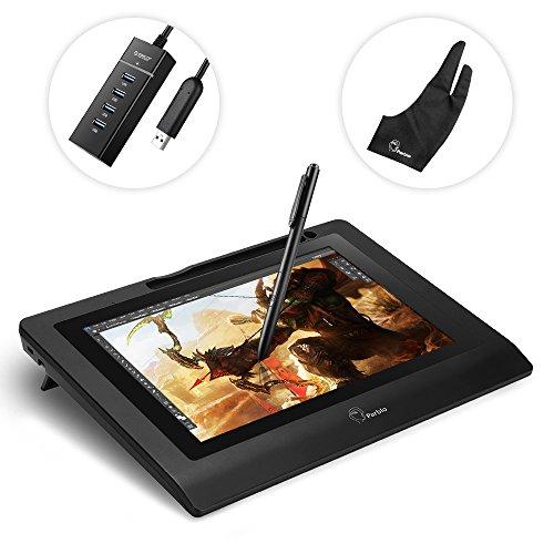 """Parblo Coast10 10.1"""" Digitalem Zeichnung Grafik Monitor Grafiktabletts Anzeige Graphic Drawing Tablet Monitor Display mit Batterieloser Stift Pen + USB3.0-Hub mit 4 Buchsen+Handschuh"""