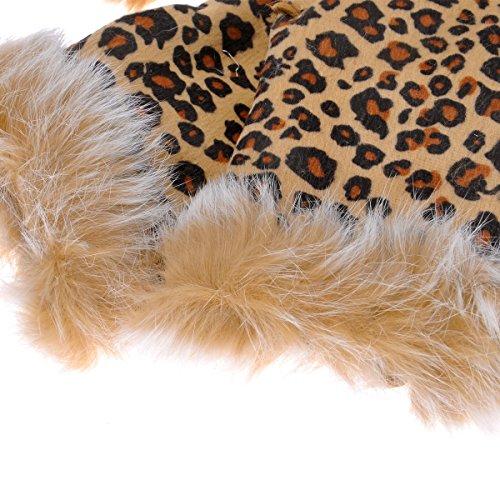 ZLYC gants pour femme style mitaines sans doigts en véritable fourrure de lapin bien chaude poignets ajustables avec un cordon, fingerless marron 2
