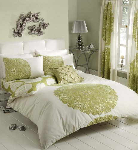 CREAM & LIME PATTERNED PRINTED DUVET COVER SETS (double)