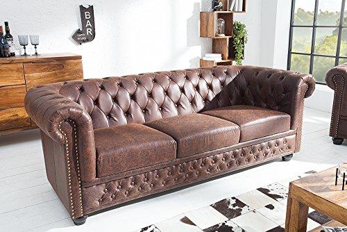Hochwertiges Chesterfield Sofa 3-Sitzer vintage braun echtes Sattelleder Dreisitzer Echtleder Leder Couch