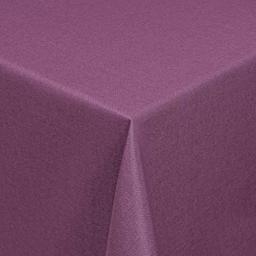 DecoHomeTextil Leinen Optik Farbe Größe wählbar - Eckig 130 x 220 bzw.130x220 bzw. 130x220 cm Lila mit Lotus Effekt Tischdecke mit Fleckschutz Lila TD Eckig 130 x 220 cm