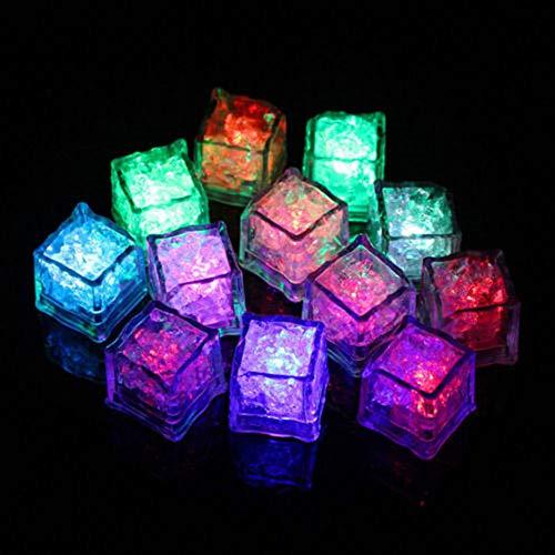 l Wiederverwendbar LED-Leucht-Eiswürfel Blitzlicht Trinken Wein Hochzeit Party Dekoration Tauch Dekorative LED Ice Cube (Set 12 Stück) ()