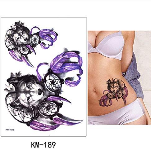 yyyDL DIY Body Art Temporäre Tätowierung Bunte Tiere Aquarell Zeichnung Pferd Schmetterling Aufkleber Wasserdichte Tattoos Aufkleber 15 * 21 cm 4 stücke (Pferd Ohr Kostüm)