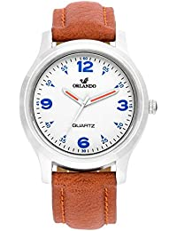 Orlando® Branded Japan Movement With White Dial & Brown Leather Belt & Blue Highlights Watches For Men - W1301TBUXZXZ