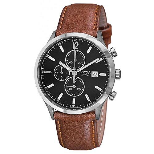 Boccia Reloj Cronógrafo para Hombre de Cuarzo con Correa en Cuero 3753-04