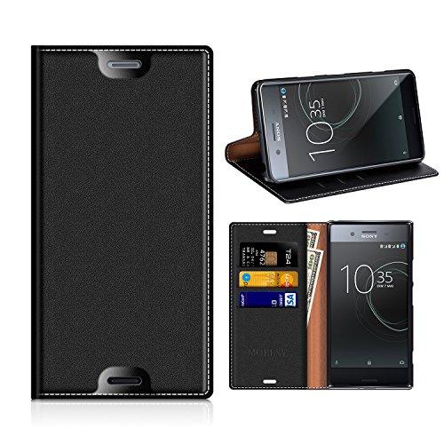 MOBESV Sony Xperia XZ Premium Hülle Leder, Sony Xperia XZ Premium Tasche Lederhülle/Wallet Case/Ledertasche Handyhülle/Schutzhülle mit Kartenfach für Sony Xperia XZ Premium - Schwarz